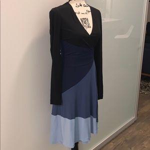 DVF colorblock silk wrap dress